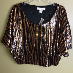 NWT San Souci Sequin Tiger Stripe Top size M